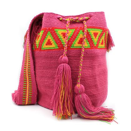 Wayuu Mochila Bag | Pink with Geometric Patterns | Handmade in Colombia
