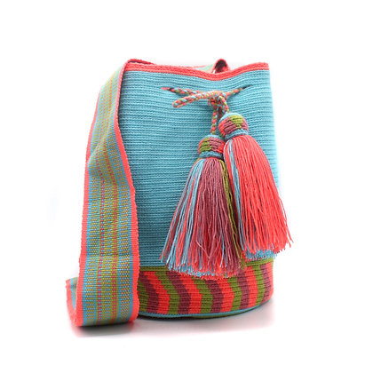 EXCLUSIVE Colombian Wayuu Bag | Loom Strap | Unicolor Teal Blue Coral