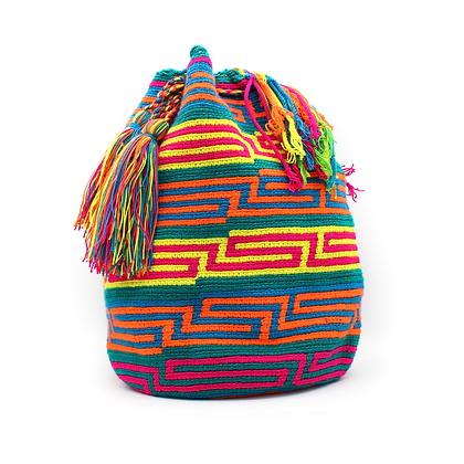 Wayuu Mochila | Blue with Colorful Patterns