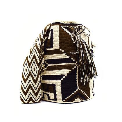 Wayuu Crossbody Mochila Bag | Tribal Patterns | Brown & Beige