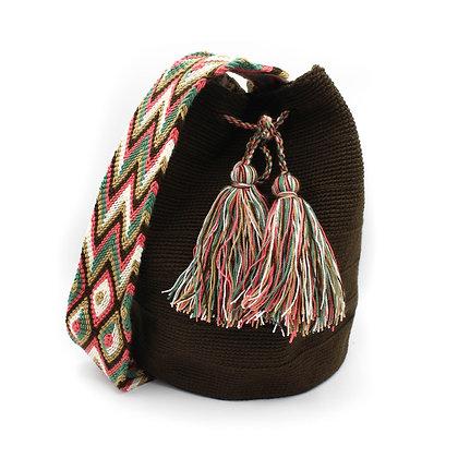 Unicolor Wayuu Bag | Crossbody Bag | Dark Deep Brown | Handmade Mochila | Boho |