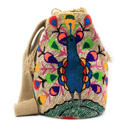 Tapizada Wayuu Mochila | Lined | Peacock | Crossbody Bag