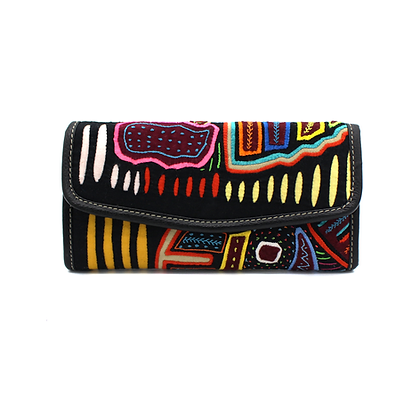 Genuine Leather Wallet + Mola Appliqué | Handmade | Kuna Tribe | Leather Wallet