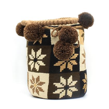 Shoulder Wayuu Bag   Brown Flowers   Squares   Pom-Pom