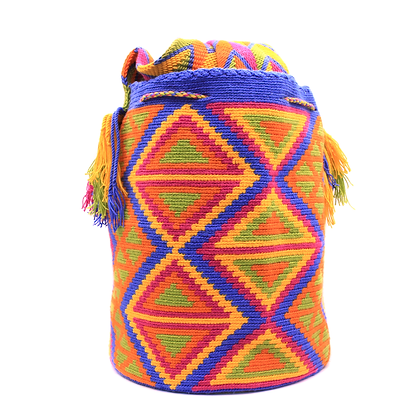 Wayuu Mochila Bag | Colorful Geometric Patterns | Blue Orange Tones