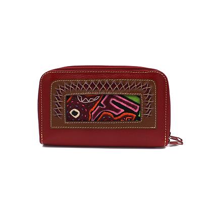 Leather wallet + Mola Appliqué | Women's Wallet Organizer | Women's wallet |