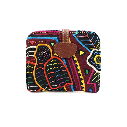 Handcrafted Genuine Leather Wallet + Mola Appliqué | Leather wallets for women |