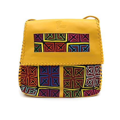 Handcrafted Leather Messenger Bag |  Mola Appliqué | Crossbody Bag