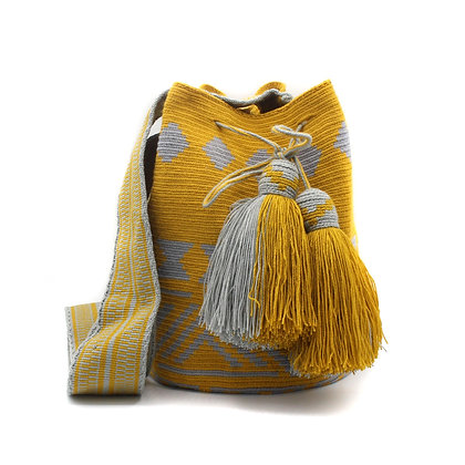 EXCLUSIVE Colombian Wayuu Bag | Bell Tassel | Yellow Mustard Gray