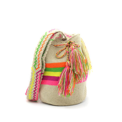 SMALL Colombian Wayuu Bag | Beige with Multicolor Stripes | Woven