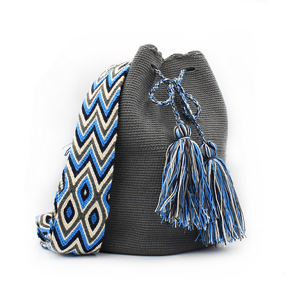 Wayuu Mochila | Handmade in Colombia | Solid Color Gray
