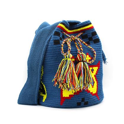 Medium Wayuu Mochila | Navy Blue | Butterflies