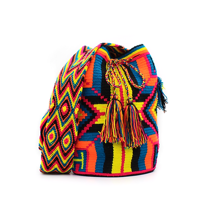 Wayuu Crossbody Mochila | Tribal Patterns | Boho Style | Yellow | Blue | Orange