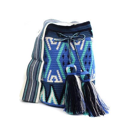 EXCLUSIVE Colombian Wayuu Bag   Bell Tassel   Loom Strap   BLUE