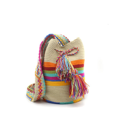SMALL 100% Colombian Wayuu Bag | Beige with Multicolor Stripes | Woven
