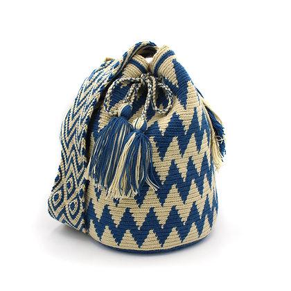 100% Colombian Wayuu Bag   ZigZag Blue Beige   Authentic Mochila Colombiana