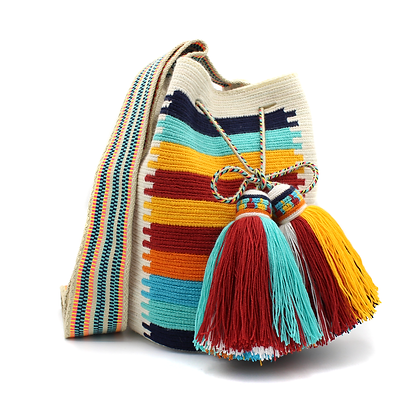 Wayuu Mochila   Multicolor Horizontal Stripes   Handmade   Bell