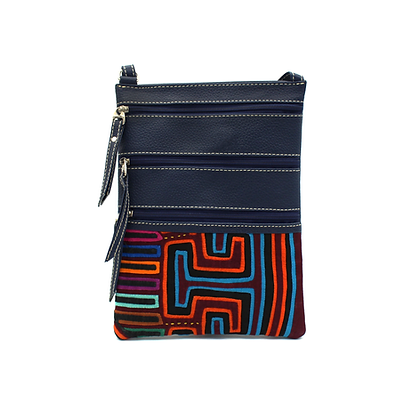 Handmade Mola + Leather Bag | Boho | Purse | Zipper Crossbody Bag  | Colombia