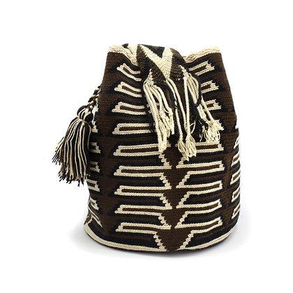 Authentic Wayuu Mochila | Crossbody Bag | Brown Beige Tribal Patterns | Handmade