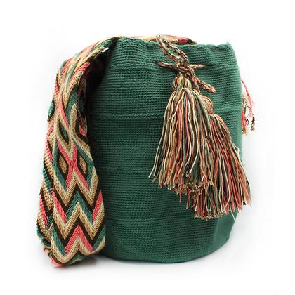 Wayuu Mochila | Solid Green | Crossbody Boho Style Bag