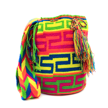 Wayuu Mochila | Bright and Colorful | Horizontal Patterns | Large