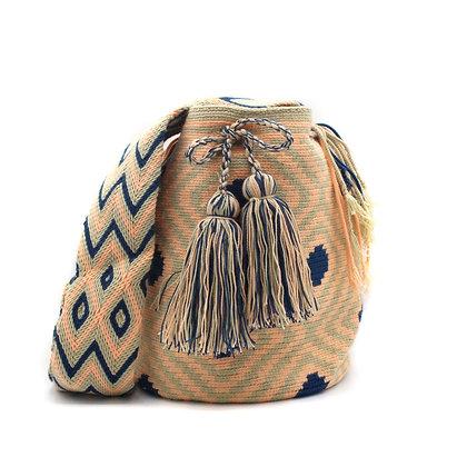 Wayuu Mochila Bag   Neutral Colors Beige Peach Blue  Traditional Mochila Colombi