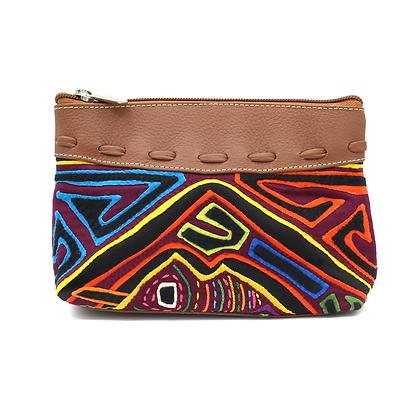 Handcrafted Leather Makeup Bag | Choose your Color |  Mola Appliqué |