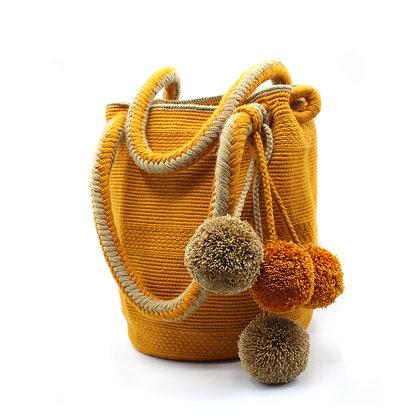 MODERN Wayuu Mochila Purse | Mustard Brown | Handbag Shoulder Bag | Handmade | B