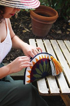 Ultra Slim Modern Clutch with Tassel   Wayuu Crochet Clutch   Half Moon Envelope