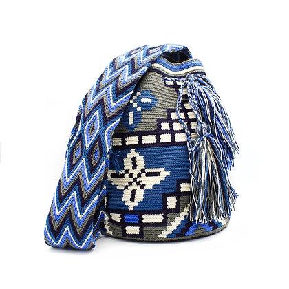 Blue & Gray Wayuu Crossbody Mochila Bag | Tribal Patterns