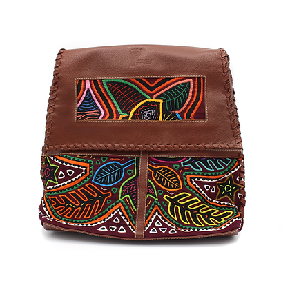 Handmade Leather Messenger Bag |  Mola Appliqué | Crossbody Bag