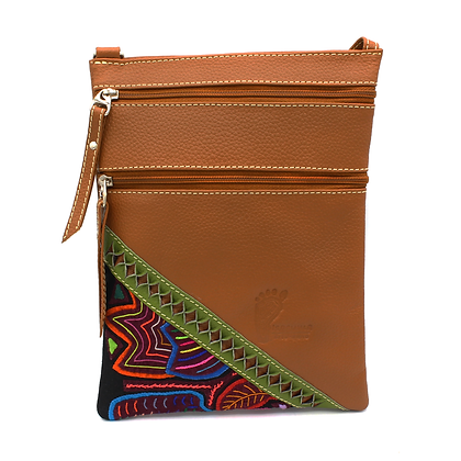 Small Leather + Mola Crossbody Purse |  Cross Body Bag | Leather Bag for Women |