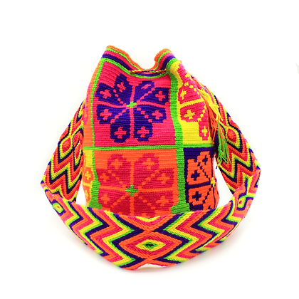 Wayuu Crossbody Mochila Bag | Bright Multi-Color | Flowers