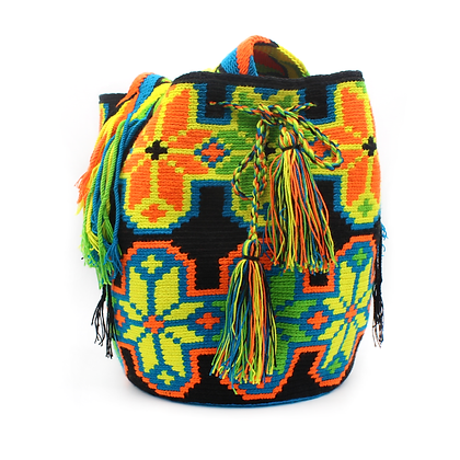 Colombian Wayuu Bag  | LARGE | Black with Green Multicolor Patterns | Handmade |