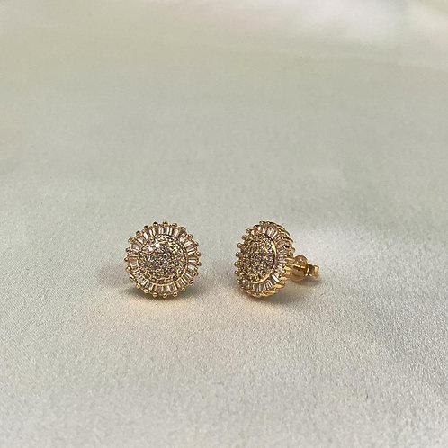 Brinco Luxo Zircônia e Micro Zircônias Dourado