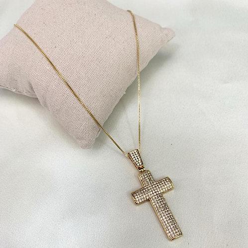 Corrente Banho de Ouro 18k  cruz ; micro zircônia