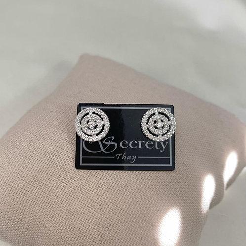 Brinco Luxo com Micro Zircônias Prata 925