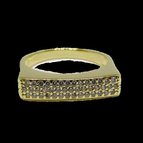 Anel Luxo com Zircônias Dourado