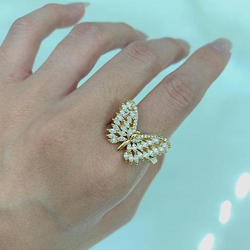 Anel Borboleta com Zircônias Dourado