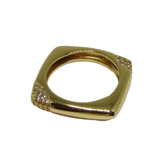 Anel Quadrado com Micro Zircônias Dourado
