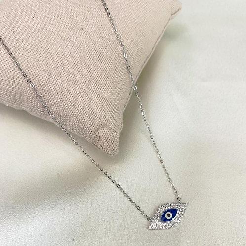 Corrente Prata 925micro zircônias; olho grego