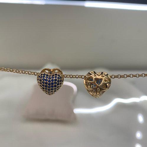 Brinco Coração Click com Micro Zircônia Azul