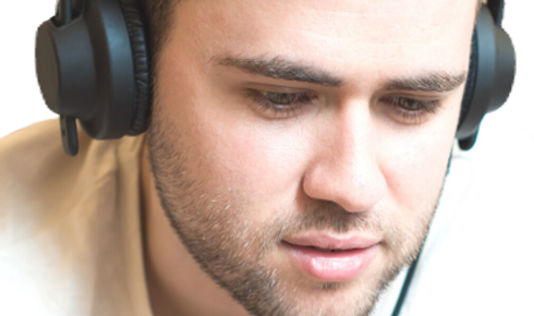 Male with headphones on
