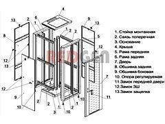 """шкаф усиленный 19 """" схема конструкции"""