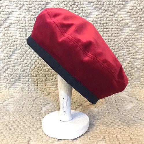 Basco Rosso con bordo in vera pelle