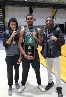 3 track team members pose together holding plaque