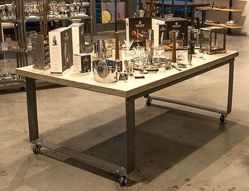 Custom cement and metal table created by Poss Productions