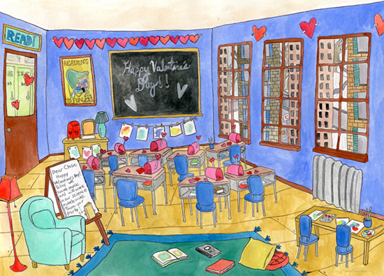 city classroom on Valentine's Day