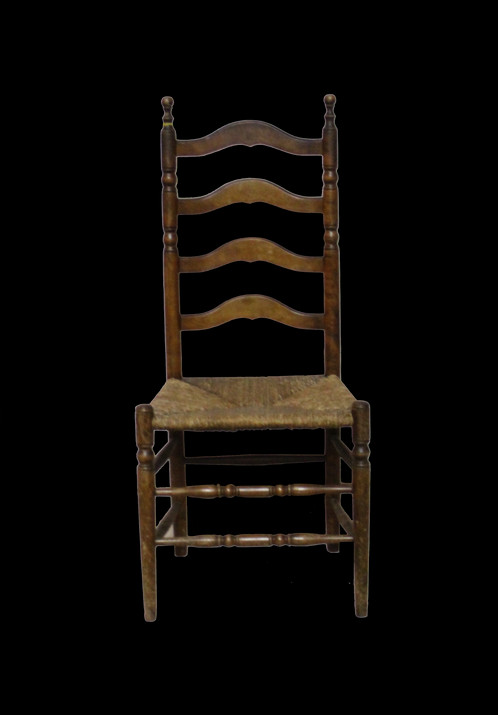 Pair of antique ladder back chairs with graceful turnings. Original seats,  in great condition. - Pair Of Antique Ladder Back Chairs Barnesestatefinds