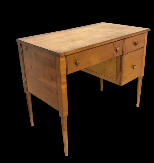 Wonderful Mid Century Desk With Three Drawers Clic 50s 60s Design Simple Straight Legs And Beautiful Light Wood Great Addition To Any